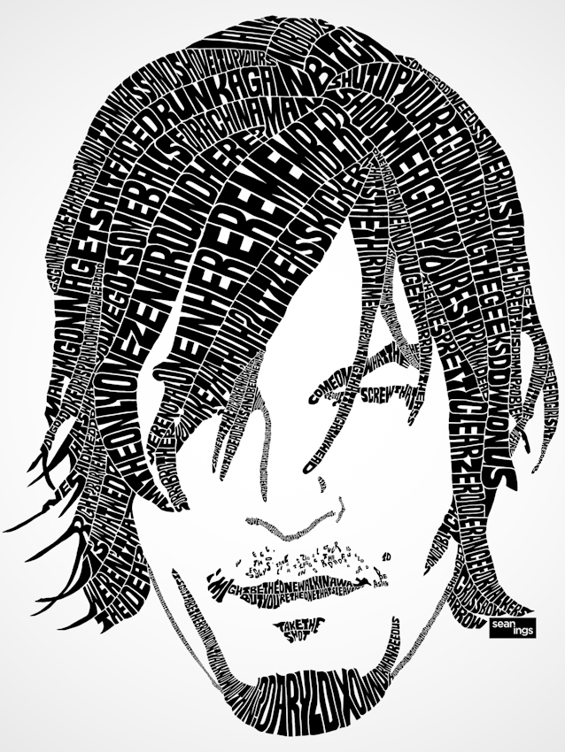 Daryl dixon the walking dead typographic design seanings Typography portrait