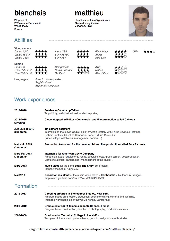 resume - MatthieuBlanchais - cinematographer, camera operator & editor